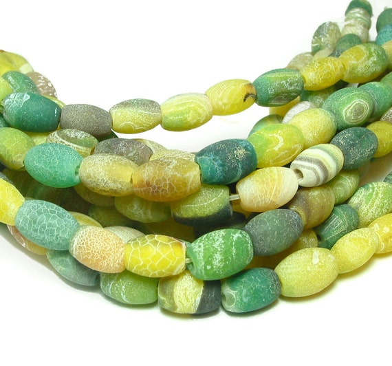 """1 / 2 str 7"""" 16pc Fire Agate 12x8mm barrel Beads green yellow matte etched"""