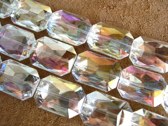 5pcs CRYSTAL AB 34x24mm Rectangle Designer Crystal Glass Faceted nugget Beads extra large by TIARIA