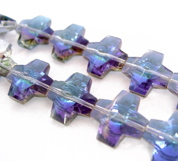 "8"" 15pcs PURPLE 15mm designer glass cross Beads faceted Half Heliotrope ab semi transparent by TIARIA"