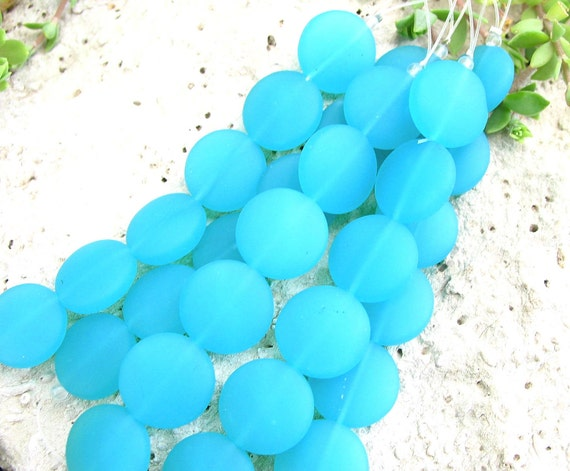 "4"" / 8"" AQUA BLUE 15mm opaque coin sea beach velvet glass beads matte frosted small"