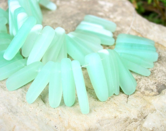 "reserved  7X      8""  37pcs SEAFOAM aqua water blue dagger tusk spike opaque sea beach velvet glass beads matte frosted recycled"