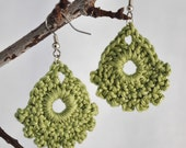 Crochet Dainty Earrings - Sage Green - TREASURY ITEM