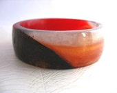 Resin Bangle bracelet Black Copper Red Silver Diagonal Angle Geometric Sleek TopazTurtle Australia Jewelry harlequin