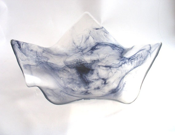 Silver and black swirl  wave resin bowl