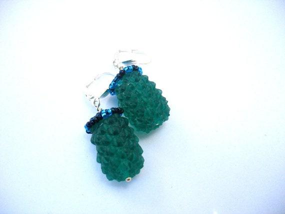 Green Earrings , Dark green handmade resin earrings jewelry , dark emerald berry dangly resin military jewelry silver earhook australia