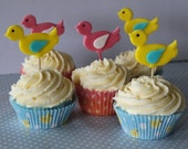 12 EDIBLE FONDANT SUGAR BIRDIE CAKE TOPPERS YOUR CHOICE OF COLOURS