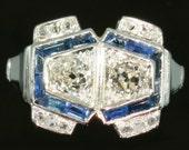 Great Gatsby Diamond sapphire engagement ring Art Deco