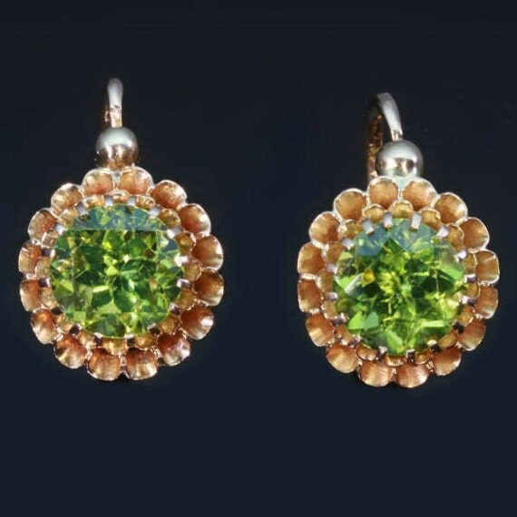 Hold for Joane - Peridot Gold Earrings - Bright green peridots 18kt rose gold leverback earrings original Victorian jewelry