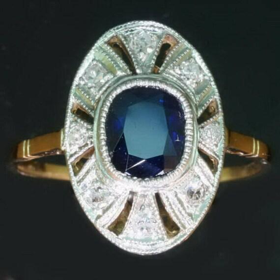 Art Deco Blue Sapphire Ring - Dark blue sapphire diamond two tone gold milgrain oval Vintage Art Deco ring 1920s