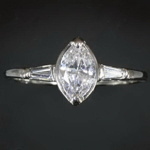 Vintage engagement ring navette cut diamond 14kt white gold - Adin Jewelry 08119-4101