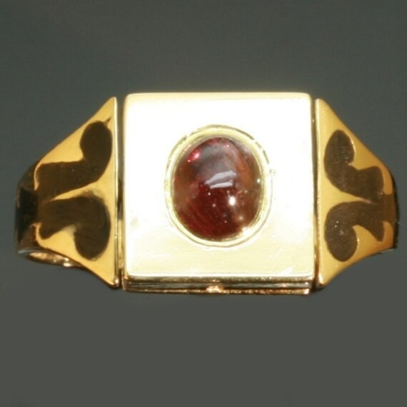 RESERVED Antique poison ring diamond ruby enamel gold
