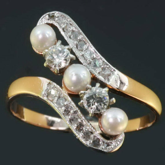 Victorian Pearls Engagement Ring