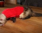 Hand knit Ferret Jumper Sweater. You choose color.