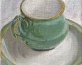green teacup original oil painting 4x4