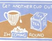 Tea cup sugar original linocut 6 x 4 blue orange brown