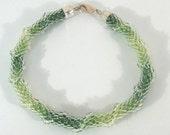 Green Waves Bracelet - Bead crochet jewelry