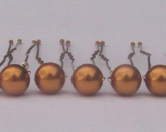 Copper Hair Pins, Wedding Hair Pins, Pearl Bobby Pins, Swarovski Hair Pins, Single Pearl Hair Pins - Set of 12 Hair Pins 6mm