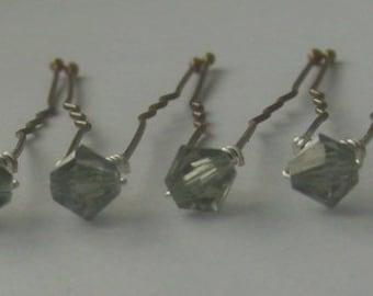 Black Diamond Bridal Hair Pins, Wedding Hair Pins, Crystal Hair Pins, Crystal Bobby Pins, Swarovski Hair Pins - Set of 12 5mm