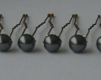 Dark Grey Bridal Hair Pins, Wedding Hair Pins, Pearl Bobby Pins, Swarovski Hair Pins, Single Pearl Hair Pins - Set of 6 Pearl Hair Pins 6mm