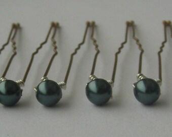 Tahitian Bridal Hair Pins, Wedding Hair Pins, Pearl Bobby Pins, Swarovski Hair Pins, Single Pearl Hair Pins - Set of 6 Hair Pins 5mm