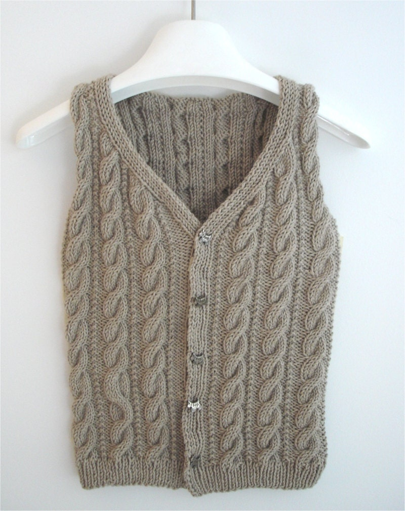 Vest Jumper Knitting Pattern : KNITTING PATTERN Boys Cabled Vest PDF sweater pattern