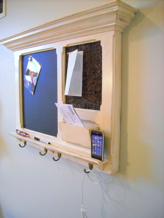 Another idea: An  iPhone Dock on a FitzWoodys Furniture Wood Framed Cork Bulletin Board or Chalkboard with Mail Slot, Keyhook, and Shelf