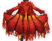 Recycled Sweater Coat -- The Phoenix -- Epic Fantasy Collection -- S/M -- Reserved for FIREBIRD2011