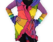 Reserved -- Recycled Sweater Coat -- Peace & Love -- S/M -- Pinwheel Cardi