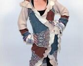 Comfort  -- L/XL -- Ready to Ship -- Pinwheel Long Cardi -- Recycled Sweater Coat