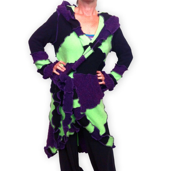 ESPECIALLY for RHONDA-- Custom Creation -- Recycled Sweater Coat -- Balance