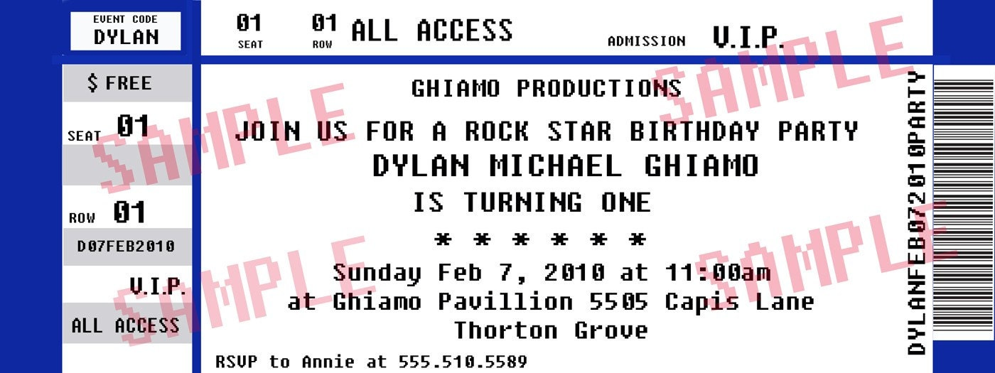 Concert Ticket Party Invitations Rockstar Birthday By Midwestprep