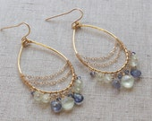 Gold, Purple, and Green Beaded Chandelier Tear Drop Earrings