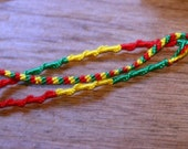 Hippie Jewelry, Rastafarian, Friendship Bracelets, Set of 3, Handmade Knotted Rasta Bracelet, Jamaica, Red Green Golden Yellow