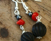 Red and Black Dangle Earrings Red Black Earings Red Coral Hematite Carved Wood Lightweight Earrings Bohemian Earrings Hypoallergenic