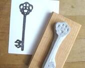 Skeleton Key Silhouette Hand Carved Stamp