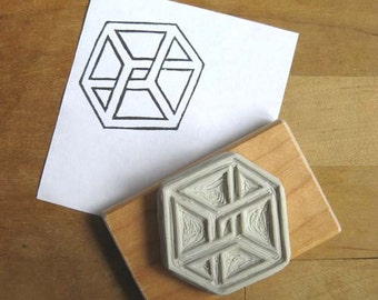 Impossible Cube / Impossible Object - Hand Carved Stamp