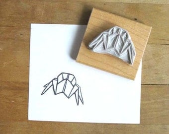 Origami Crab Hand Carved Stamp