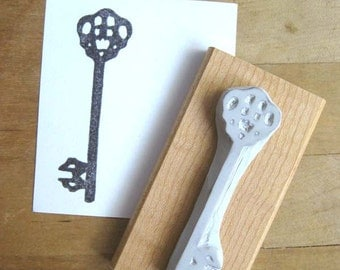 Skeleton Key Silhouette Hand Carved Stamp