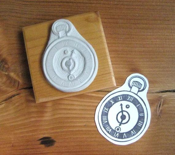Pocket Watch Hand Carved Stamp