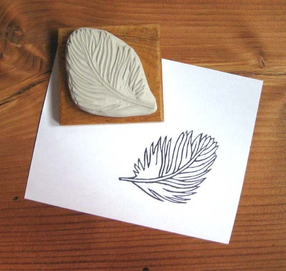 Fluffy feather hand carved stamp by extase on etsy