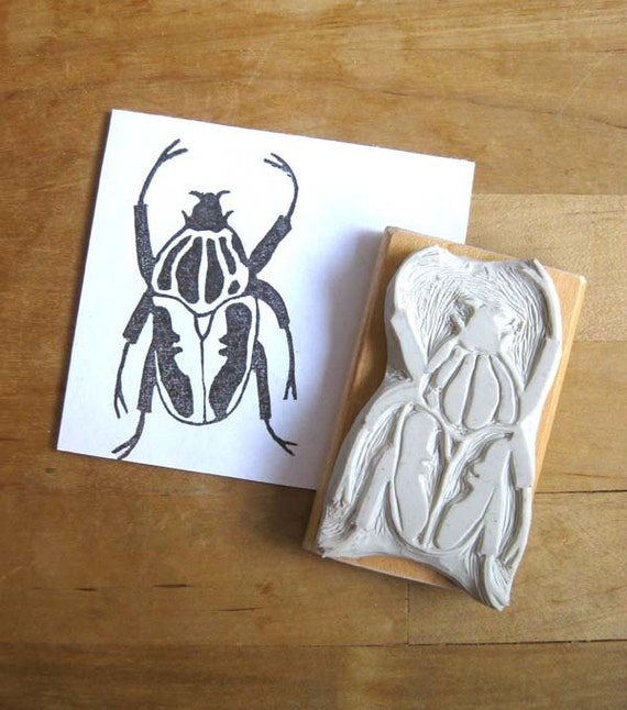 Goliath Beetle - Hand Carved Stamp