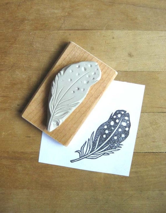 Black spotted feather hand carved stamp
