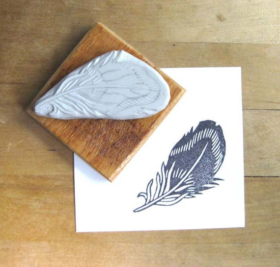 Striped feather hand carved rubber stamp