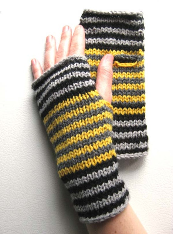 Bee Girl Circus Stripe Wrist Warmers