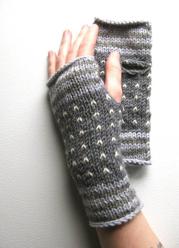 Starry Night / Charcoal Wrist Warmers