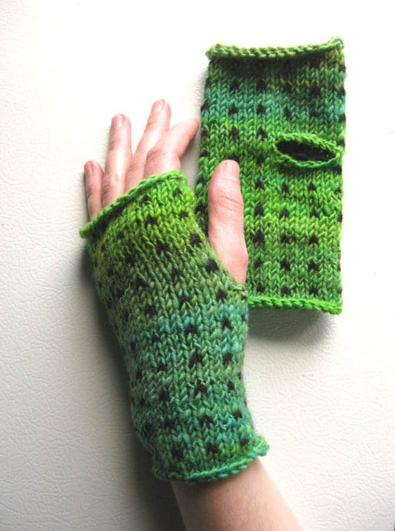 Emerald City Polka Dot Wrist Warmers