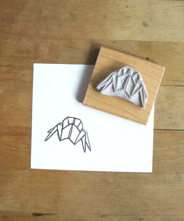 Origami crab hand carved stamp from extase on etsy studio