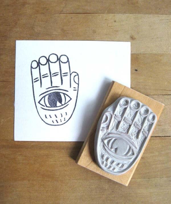 Evil eye hand carved stamp from extase on etsy studio