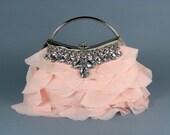 GABRIELLA - Pink Chiffon Ruffle Bridal Clutch Evening Bag with Large Rhinestones