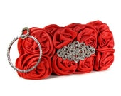 CALISTA - Red Clutch Evening Bag Wristlet Style with Satin Roses and Crystal Brooch